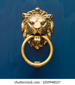 gold lion antique door knob