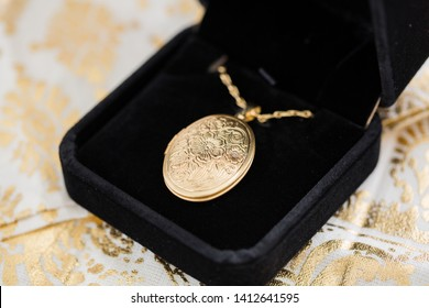 Gold Locket Necklace on Chain