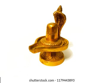 Gold Lord Shiva Lingam isolated on white.