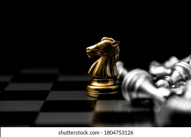 Gold luxury Elegant Chess horse piece with black space for text. Successful Business leader concept.