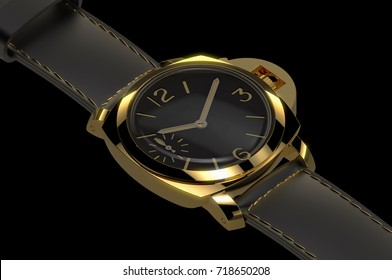 gold luxury military road watch 3d illustration