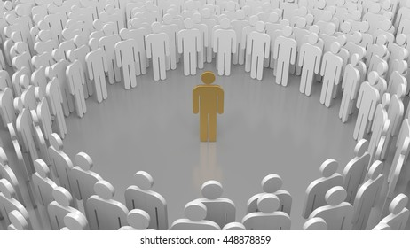 Gold man standing out from the crowd.3d rendering