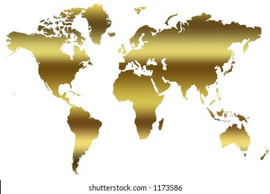 Multicolored world map divided six continents vector de gold map of the world gumiabroncs Images
