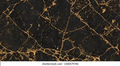 Gold marble texture with lots of bold contrasting veining, Abstract black and gold background, Surface effect to architectural slab,  Luxury marbel stone for ceramic floor and wall tiles