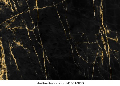 Gold marbling texture on black background design for cover book or brochure, poster, wallpaper background or realistic business and design artwork.