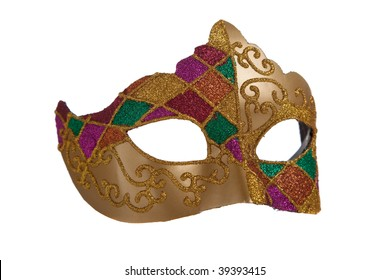 A gold mardi gra mask with green and purple beads on a white background
