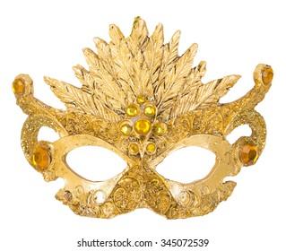 Gold Mask decoration on Christmas tree isoloated on white background