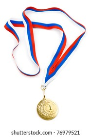 gold medal or award with ribbon isolated