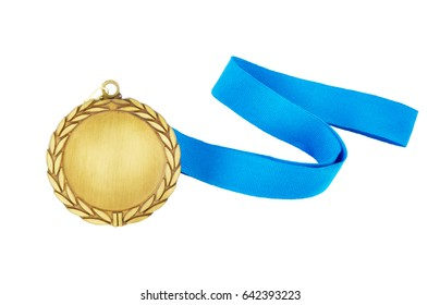 Gold medal with blue ribbon isolated on white background