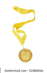 Gold medal with golden ribbon isolated on white