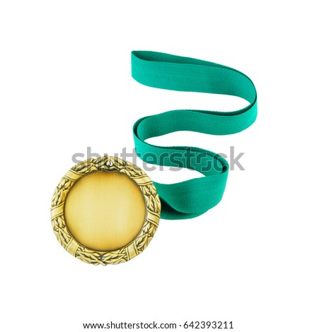 Gold Medal Green Ribbon Isolated On Stock Photo (Edit Now