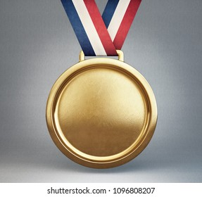 gold medal isolated on a grey. 3d illustration