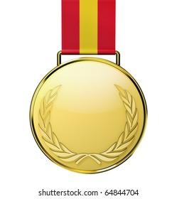 Gold medal with laurel (3d illustration)