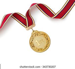 Gold medal on white background?