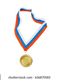Gold medal with red, blue and white color ribbon isolated on white