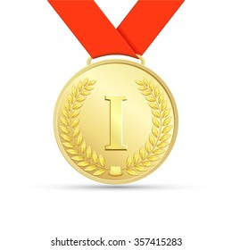 Gold medal with red ribbon. Stock illustration.