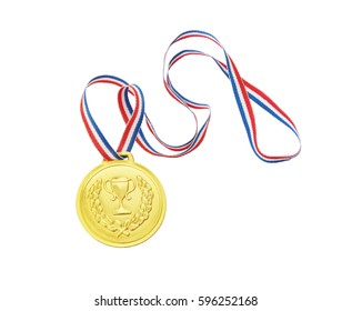 Gold medal with ribbon isolated on white background