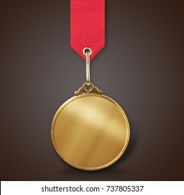 Gold Medal with ribbon isolated on white background.