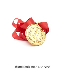 gold medal with ribbon isolated over white background