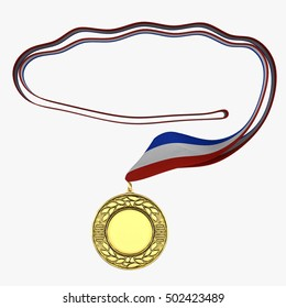 Gold medal with tricolor ribbon on white. 3D illustration
