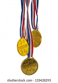 Gold medal winner pendant on a white background