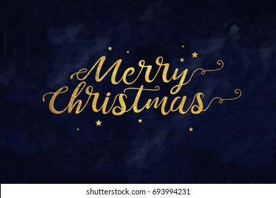 Gold Merry Christmas Typography with Stars Over Textured Blue Background