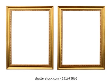 Gold metal frame isolated on white background