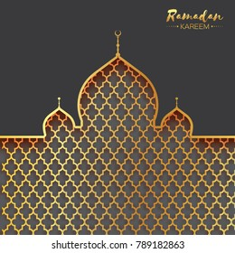 Gold metal Mosque. Origami Ramadan Kareem Greeting card with arabic arabesque pattern. Holy month of muslim. Space for text.  illustration.