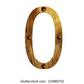 gold metal number 0  on a white isolated background