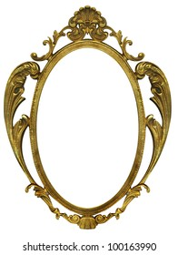 Gold metal picture frame with isolated white center