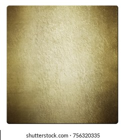 Gold metal plate on white background