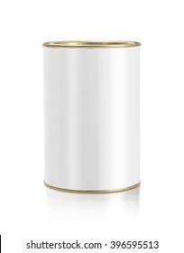 Gold metal tin can with white paper label mockup template ready to place design isolated on white background