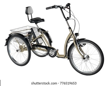Gold metallic and black adult tricycle on white background.