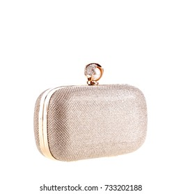 Gold metallic handbag clutch