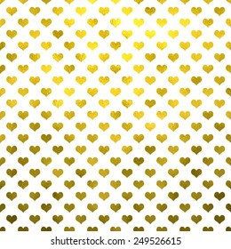 Gold Metallic Hearts on White Polka Dot Pattern Hearts