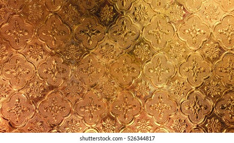 Gold metallic stained glass pattern texture