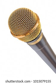 Gold microphone on white