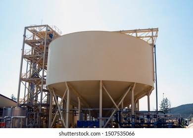 Gold mine water processing tank equipment is seen from the outside.