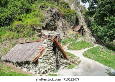 The gold miners hut at  the Historic Chinese Settlement in Arrowtown, New Zealand.