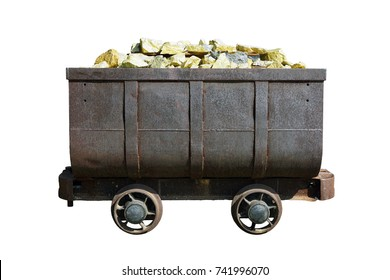Gold mining trolley isolated on white background.  A mining trolley full of gold.