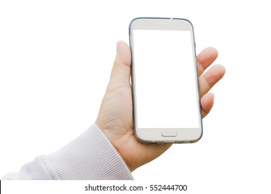 gold mobile phone with transparent case in asian fat woman left hand isolated on white background.