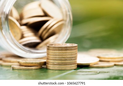 Gold money coins - retirement income, savings concept