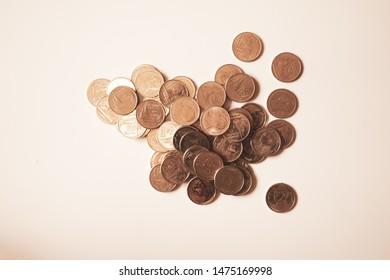 gold money on white background