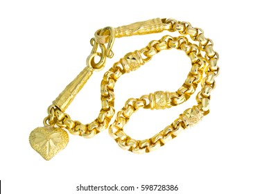 Gold necklace 96.5 precent Thai gold grade with gold hook isolated on white background
