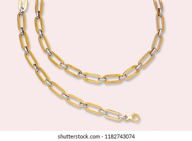 Gold necklace and bracelets. Platinum chain. Luxury brilliant jewelry pendant or coulomb on transparent background