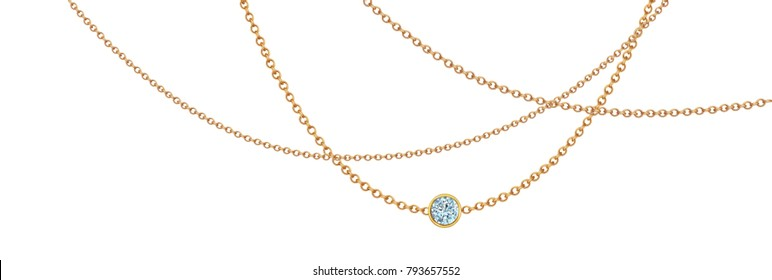 Gold necklace with diamond. Platinum chain with gem. Luxury brilliant jewelry pendant or coulomb on transparent background isolated illustration for ads, flyers, web site sale elements design