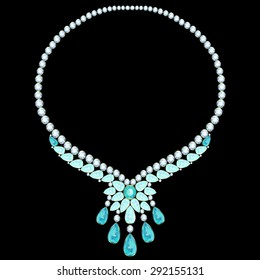 Gold necklace with diamonds and aquamarine flower