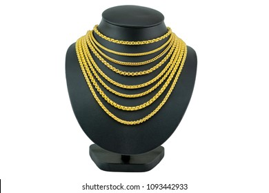 Gold Necklace On Necklace Display Stand Stock Photo Edit Now 1093442933