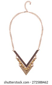 gold necklace on a white background