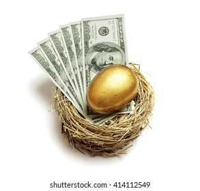 Gold nest egg and money concept for retirement savings and financial planning